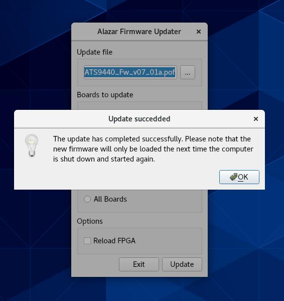 Linux Firmware Update Successful