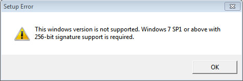 Error when installing on a Windows 7 machine without SP1